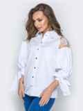 Белая блузка с объемными рукавами на завязках 20750, фото 2