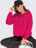 Худи свободного кроя с кулиской по низу розовое 55098, фото 1
