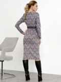 Коричневое платье-футляр с принтом и кружевом 52361, фото 5