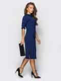 Платье полуприталенного кроя с функциональными шлевками тёмно-синее 13804, фото 2