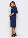 Платье полуприталенного кроя с функциональными шлевками тёмно-синее 13804, фото 3
