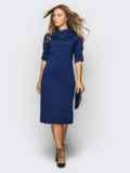 Платье полуприталенного кроя с функциональными шлевками тёмно-синее 13804, фото 4