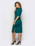 Платье полуприталенного кроя с функциональными шлевками зелёное 13805, фото 2