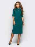 Платье полуприталенного кроя с функциональными шлевками зелёное 13805, фото 3