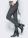 Тёмно-серые брюки из жаккарда с кантом на карманах 17755, фото 2