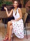 Белое платье-клеш из шифона с принтом и лифом из прошвы 54156, фото 3