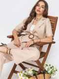 Льняной комплект из жакета и брюк-клеш бежевый 49141, фото 1