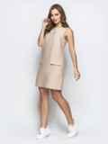 Бежевое платье прямого кроя с карманами обманками 21597, фото 2