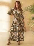 Платье большого размера приталенного силуэта цвета хаки 53730, фото 2