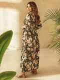 Платье большого размера приталенного силуэта цвета хаки 53730, фото 3