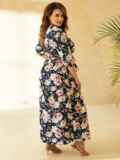 Платье большого размера приталенного силуэта синее 53729, фото 3
