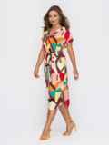 Платье прямого кроя с принтом красное 53927, фото 2