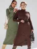 Коричневое платье большого размера мелкой вязки 53338, фото 5