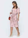 Пудровое платье прямого кроя с принтом 46876, фото 2