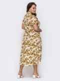 Свободное платье батал с цветочным принтом желтое 49661, фото 2