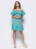 Бирюзовое платье-трапеция с широкой оборкой на горловине и по низу 11585, фото 1