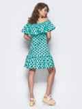 Бирюзовое платье-трапеция с широкой оборкой на горловине и по низу 11585, фото 2