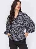Блузка с принтом и объемными рукавами черная 51703, фото 2