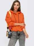 Худи свободного кроя с кулиской по низу оранжевое 55096, фото 2