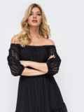 Платье-макси из прошвы с вырезом и манжетами на резинке чёрное 45912, фото 5