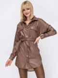 Удлиненная рубашка из экокожи коричневая 53295, фото 2