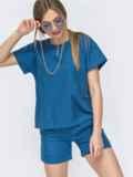Льняной комплект синего цвета из блузки брюк 46991, фото 1