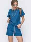Льняной костюм синего цвета из блузки и шорт 46991, фото 2