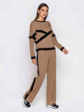 Спортивный костюм из кофты и брюк коричневый 50152, фото 2