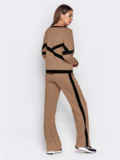 Спортивный костюм из кофты и брюк коричневый 50152, фото 3