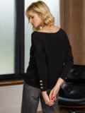 Черный джемпер со спущенной линией плечевого шва 52708, фото 3