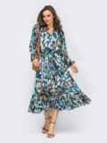 Голубое платье из шифона с принтом и юбкой клеш 53747, фото 2