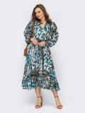 Голубое платье из шифона с принтом и юбкой клеш 53747, фото 3