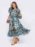 Голубое платье из шифона с принтом и юбкой клеш 53747, фото 4