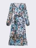 Голубое платье из шифона с принтом и юбкой клеш 53747, фото 6