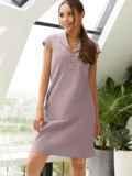 """Приталенное платье фиолетового цвета из льна с рукавом """"крылышко"""" 54509, фото 2"""