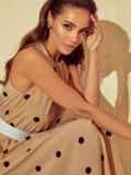 Бежевое платье в горох с американской проймой 53929, фото 4