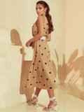 Бежевое платье в горох с американской проймой 53929, фото 5