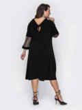 Чёрное платье-трапеция большого размера с люрексом 52131, фото 2