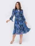 Шифоновое платье-миди голубого цвета с вырезом «капля» 53077, фото 2