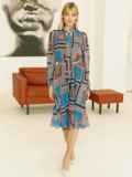 Шифоновое платье с геометрическим принтом и воротником-аскот коричневое 53078, фото 3
