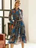 Шифоновое платье с геометрическим принтом и воротником-аскот коричневое 53078, фото 4