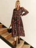 Шифоновое платье с принтом и воланом по низу бордовое 53079, фото 3
