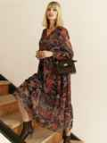 Шифоновое платье с принтом и воланом по низу бордовое 53079, фото 4