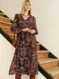 Шифоновое платье с принтом и воланом по низу бордовое 53079, фото 5