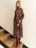 Шифоновое платье с принтом и воланом по низу бордовое 53079, фото 6