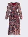 Шифоновое платье с принтом и воланом по низу бордовое 53079, фото 7