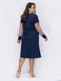 Темно-синее платье большого размера с жемчужинами на рукавах 52132, фото 2