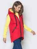 Красный жилет с капюшоном на кулиске и карманами 20053, фото 2
