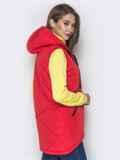 Красный жилет с капюшоном на кулиске и карманами 20053, фото 3