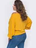 Трикотажный джемпер с широкими рукавами желтый 50891, фото 2